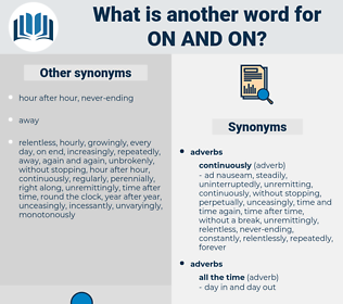 on and on, synonym on and on, another word for on and on, words like on and on, thesaurus on and on