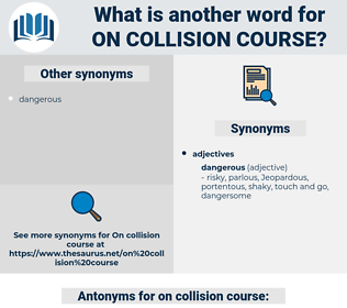 on collision course, synonym on collision course, another word for on collision course, words like on collision course, thesaurus on collision course
