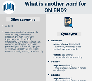on end, synonym on end, another word for on end, words like on end, thesaurus on end