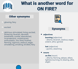 on fire, synonym on fire, another word for on fire, words like on fire, thesaurus on fire