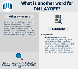 on layoff, synonym on layoff, another word for on layoff, words like on layoff, thesaurus on layoff
