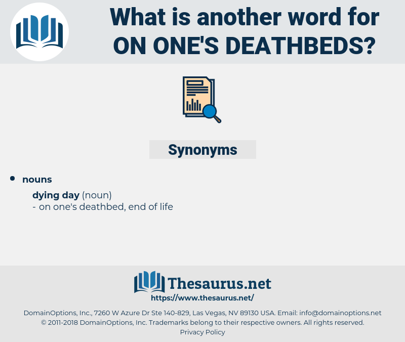 on one's deathbeds, synonym on one's deathbeds, another word for on one's deathbeds, words like on one's deathbeds, thesaurus on one's deathbeds