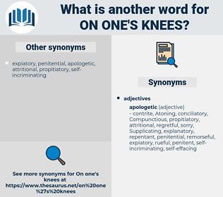on one's knees, synonym on one's knees, another word for on one's knees, words like on one's knees, thesaurus on one's knees