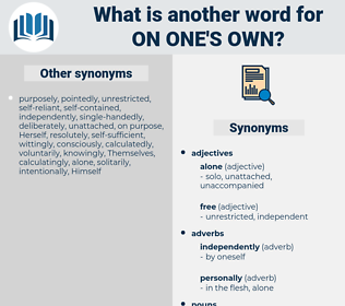 on one's own, synonym on one's own, another word for on one's own, words like on one's own, thesaurus on one's own
