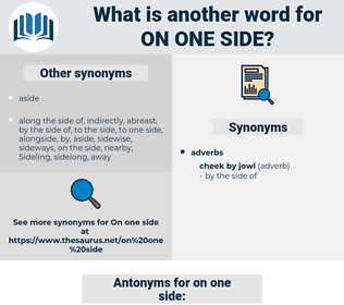 on one side, synonym on one side, another word for on one side, words like on one side, thesaurus on one side