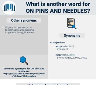 on pins and needles, synonym on pins and needles, another word for on pins and needles, words like on pins and needles, thesaurus on pins and needles