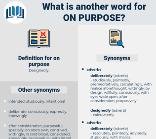 on purpose, synonym on purpose, another word for on purpose, words like on purpose, thesaurus on purpose