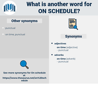 on schedule, synonym on schedule, another word for on schedule, words like on schedule, thesaurus on schedule