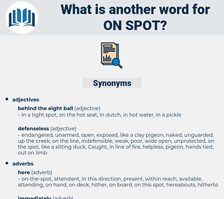 on spot, synonym on spot, another word for on spot, words like on spot, thesaurus on spot