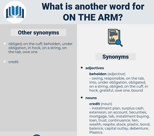 on the arm, synonym on the arm, another word for on the arm, words like on the arm, thesaurus on the arm