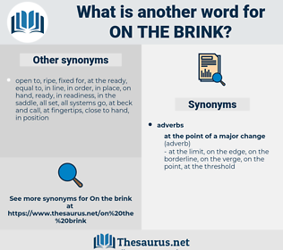 on the brink, synonym on the brink, another word for on the brink, words like on the brink, thesaurus on the brink