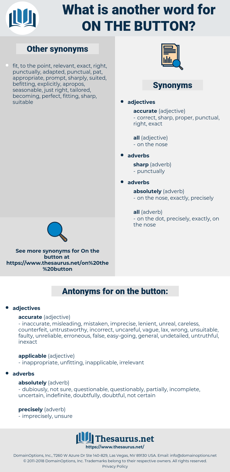 on the button, synonym on the button, another word for on the button, words like on the button, thesaurus on the button
