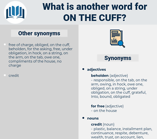on the cuff, synonym on the cuff, another word for on the cuff, words like on the cuff, thesaurus on the cuff