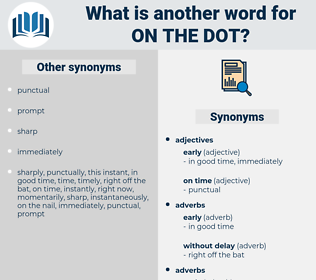 on the dot, synonym on the dot, another word for on the dot, words like on the dot, thesaurus on the dot