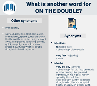 on the double, synonym on the double, another word for on the double, words like on the double, thesaurus on the double