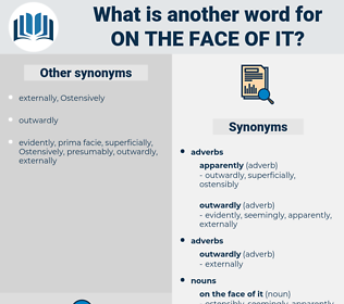 on the face of it, synonym on the face of it, another word for on the face of it, words like on the face of it, thesaurus on the face of it