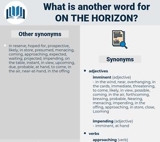 on the horizon, synonym on the horizon, another word for on the horizon, words like on the horizon, thesaurus on the horizon