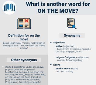 on the move, synonym on the move, another word for on the move, words like on the move, thesaurus on the move