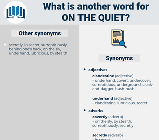 on the quiet, synonym on the quiet, another word for on the quiet, words like on the quiet, thesaurus on the quiet