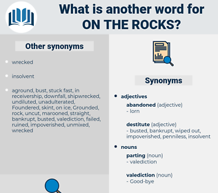 on the rocks, synonym on the rocks, another word for on the rocks, words like on the rocks, thesaurus on the rocks
