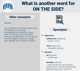 on the side, synonym on the side, another word for on the side, words like on the side, thesaurus on the side