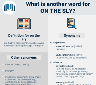 on the sly, synonym on the sly, another word for on the sly, words like on the sly, thesaurus on the sly