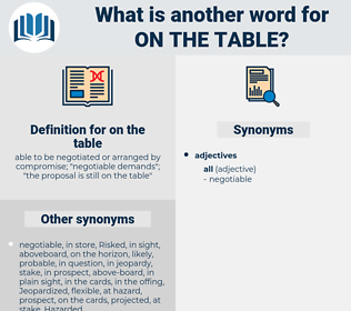 on the table, synonym on the table, another word for on the table, words like on the table, thesaurus on the table