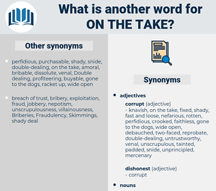 on the take, synonym on the take, another word for on the take, words like on the take, thesaurus on the take