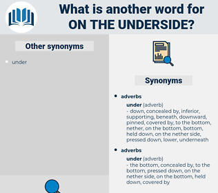 on the underside, synonym on the underside, another word for on the underside, words like on the underside, thesaurus on the underside