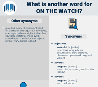 on the watch, synonym on the watch, another word for on the watch, words like on the watch, thesaurus on the watch