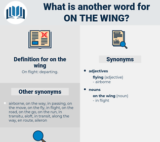on the wing, synonym on the wing, another word for on the wing, words like on the wing, thesaurus on the wing