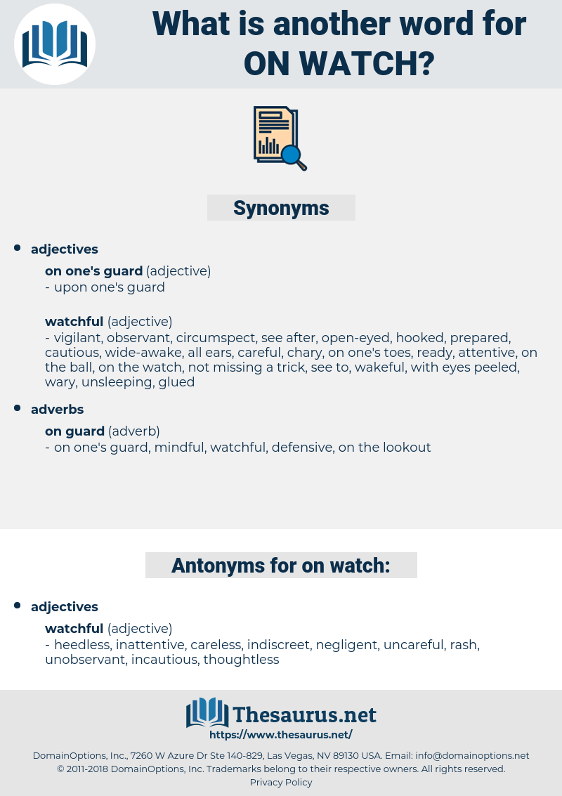on watch, synonym on watch, another word for on watch, words like on watch, thesaurus on watch