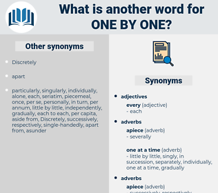 one by one, synonym one by one, another word for one by one, words like one by one, thesaurus one by one