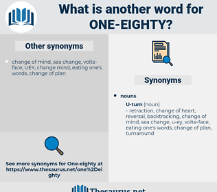 one eighty, synonym one eighty, another word for one eighty, words like one eighty, thesaurus one eighty