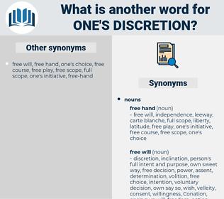 one's discretion, synonym one's discretion, another word for one's discretion, words like one's discretion, thesaurus one's discretion