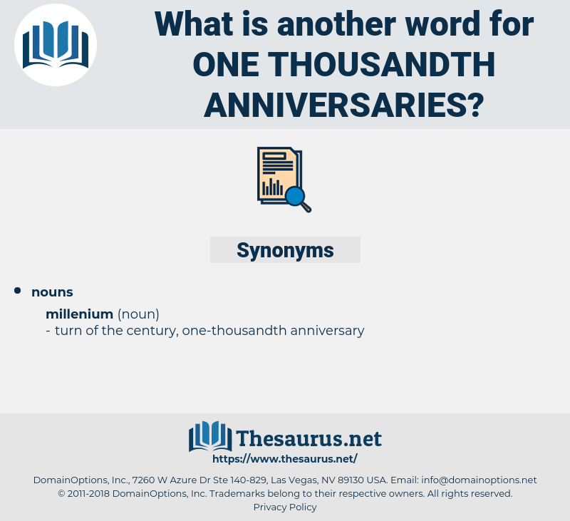 one-thousandth anniversaries, synonym one-thousandth anniversaries, another word for one-thousandth anniversaries, words like one-thousandth anniversaries, thesaurus one-thousandth anniversaries