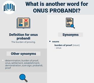 onus probandi, synonym onus probandi, another word for onus probandi, words like onus probandi, thesaurus onus probandi