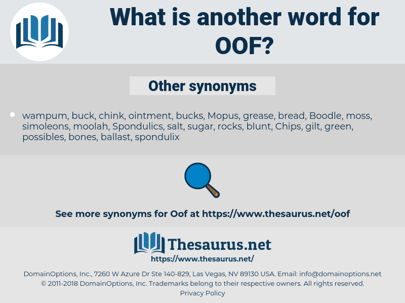 OOF, synonym OOF, another word for OOF, words like OOF, thesaurus OOF