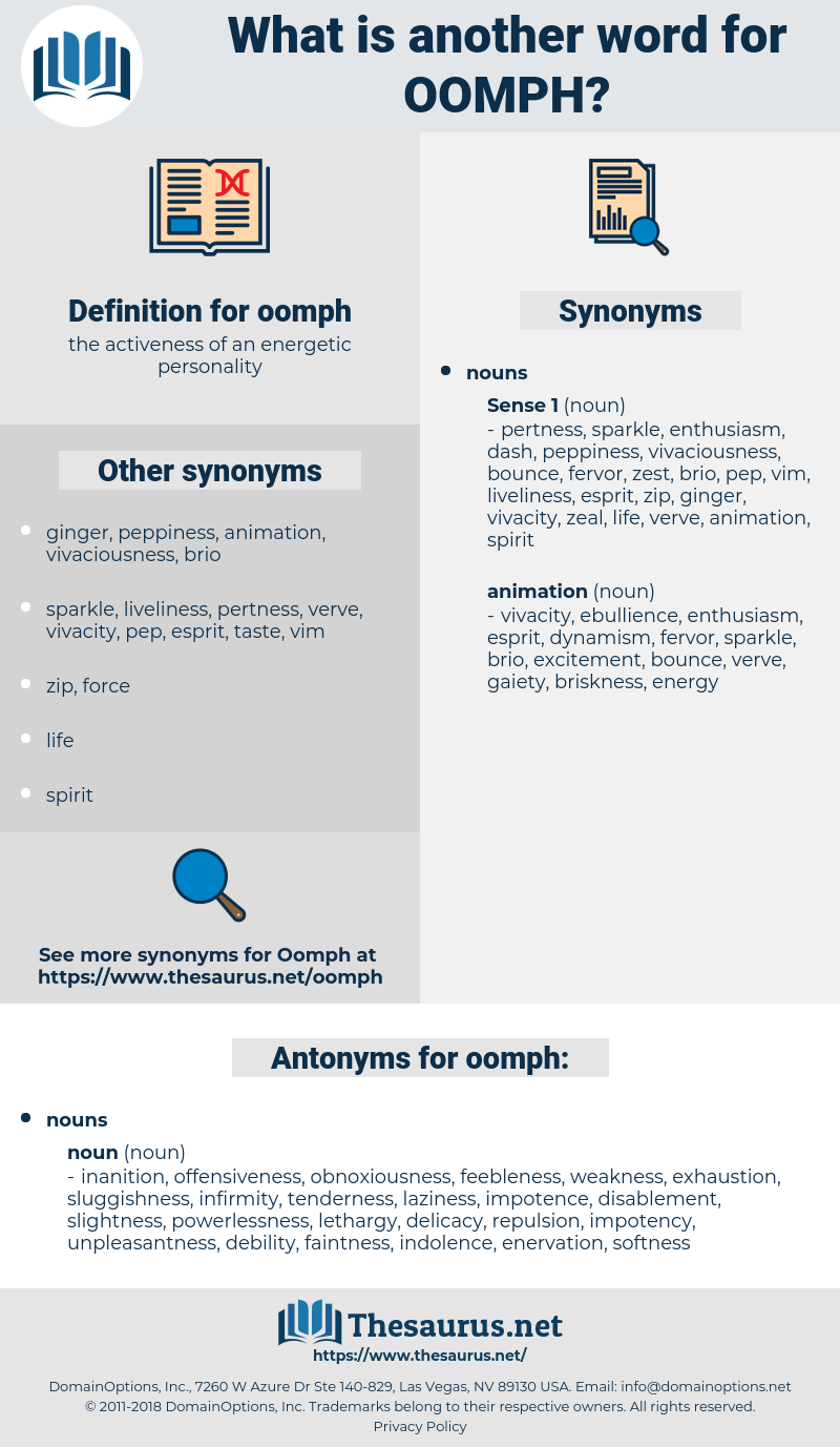 oomph, synonym oomph, another word for oomph, words like oomph, thesaurus oomph