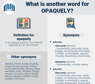 opaquely, synonym opaquely, another word for opaquely, words like opaquely, thesaurus opaquely
