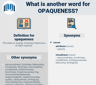 opaqueness, synonym opaqueness, another word for opaqueness, words like opaqueness, thesaurus opaqueness
