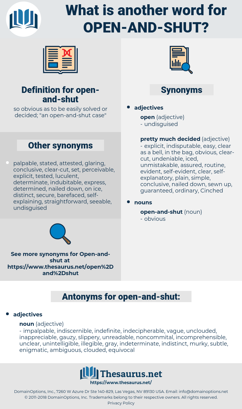 open-and-shut, synonym open-and-shut, another word for open-and-shut, words like open-and-shut, thesaurus open-and-shut