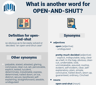 open and shut, synonym open and shut, another word for open and shut, words like open and shut, thesaurus open and shut