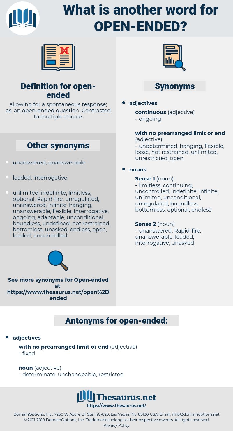 open-ended, synonym open-ended, another word for open-ended, words like open-ended, thesaurus open-ended