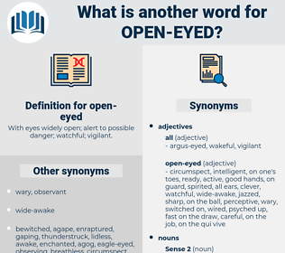 open-eyed, synonym open-eyed, another word for open-eyed, words like open-eyed, thesaurus open-eyed