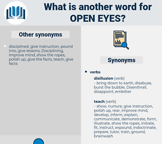 open eyes, synonym open eyes, another word for open eyes, words like open eyes, thesaurus open eyes