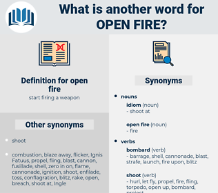 open fire, synonym open fire, another word for open fire, words like open fire, thesaurus open fire