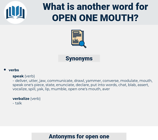 open one mouth, synonym open one mouth, another word for open one mouth, words like open one mouth, thesaurus open one mouth
