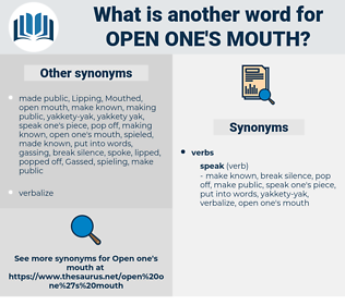 open one's mouth, synonym open one's mouth, another word for open one's mouth, words like open one's mouth, thesaurus open one's mouth