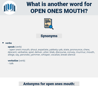 open ones mouth, synonym open ones mouth, another word for open ones mouth, words like open ones mouth, thesaurus open ones mouth